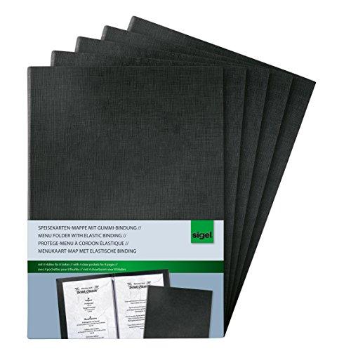 Sigel SM110 Speisekarten-Mappe mit Gummi-Bindung für A4, 1 Stück Kunststoff, schwarz by Sigel GmbH