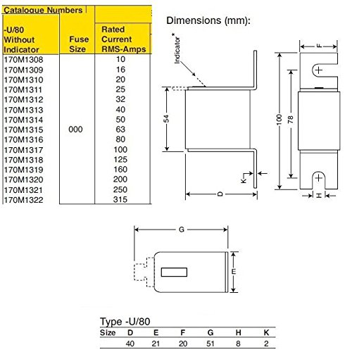 Bussmann 170M1322 fuse 690Vac 315amps 200ka square body Without indicator UL recognition