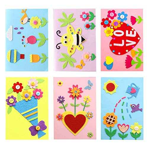 Dsaren 6 Pcs DIY Greeting Card Kits Handmade Card Making Kit with Envelopes Birthday Mother's Day Teachers' Day Christmas Card Felt Arts and Crafts for Kids ()