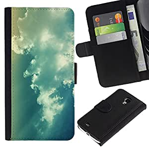 Stuss Case / Funda Carcasa PU de Cuero - Blue Sky Clouds - Samsung Galaxy S4 Mini i9190