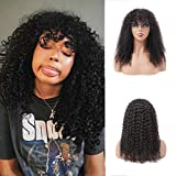 Afro Kinky Curly Human Hair Wigs with Bangs 20 Inch