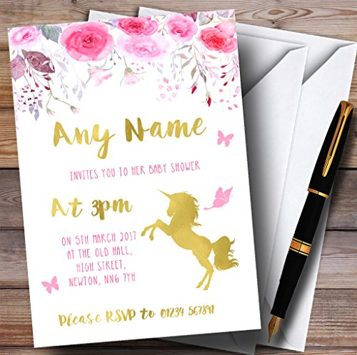 Watercolour Pink Gold Floral Unicorn Invitations Baby Shower Invitations