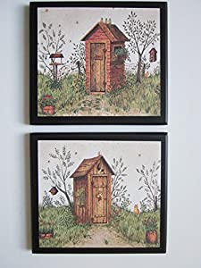 Outhouse Bathroom Plaques His Hers 2 Piece Set Rustic Country Outhouses Primitive Lodge Style Bath Signs