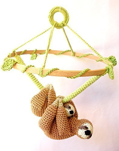 Sloth Nursery Mobile, Mother & Baby Sloth Crochet Mobile, Baby Animal Nursery Decor, Wildlife Nursery by Crochet on a tree