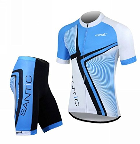Mzcurse Short Sleeve Bike Bicycle Cycling Shirt Jersey + Shorts Pants Suit Sets (Sky Blue, X-Large,please check the size chart )