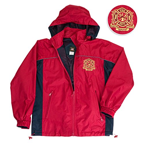 - Firefighter Jacket Hooded Light Weight Rain Resistant Windbreaker Jacket Reflective Safety Piping And Removable Hood Mesh Nylon Liner Embroidered Logo Draw Sting Waist X-Large Red-Navy