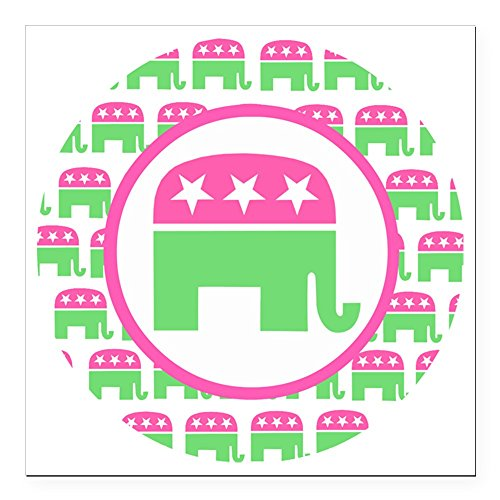 CafePress - Pink and Green Republica Square Car Magnet 3