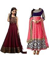 Market Magic World Girl's Banglori & Net Semi Stitched Kids Wear Salwar Suit (Gown)(MMW-09018_Maroon & Pink_Free Size_8 to 12 year age)