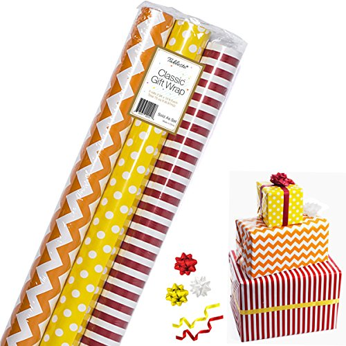 10' Metallic Bow (Gift Wrapping Paper – All Occasion Wrapping Paper – Classy Wrapping Paper with Patterns – Premium Gift Wrap, Polka Dots, Stripes & Chevron 3 Rolls - 2.5 ft x 10 ft per Roll, Includes 3 Bows, 2 Ribbons)