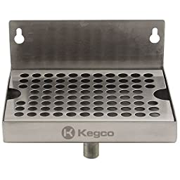 Kegco KC DP-64-D Wall Mount Drip Tray with Drain, 6\