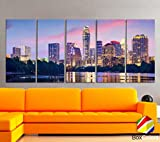 Original by BoxColors XLARGE 30''x 70'' 5 Panels 30''x14'' Ea Art Canvas Print Beautiful Austin tx skyline light buildings Multicolor Wall Home Office decor ( framed 1.5'' depth)