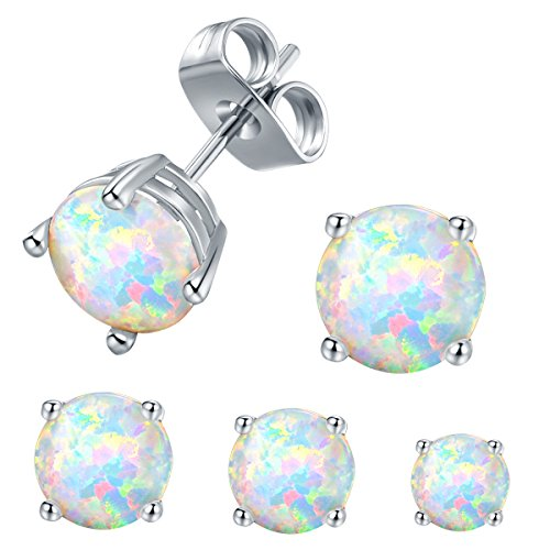 Gold Plated Set Stud - VOLUKA Opal Stud Earrings 18K White Gold Plated for Womens Sensitive Ears 3 Pairs 3/5/7mm