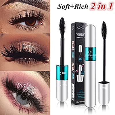 0063c861e0f 3D Fiber Mascara Lash 2 In 1 Black Eyelash Extension Waterproof Long  Lasting Eye Makeup Extension Tool by Staron (2 In 1 B)