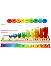 Wooden Stacking Rings and Counting Games with 45 Rings Number Blocks- Counting Ring Stacker-Wooden Sorting Counting Toy for 3 Years Old Kids Maths Learning