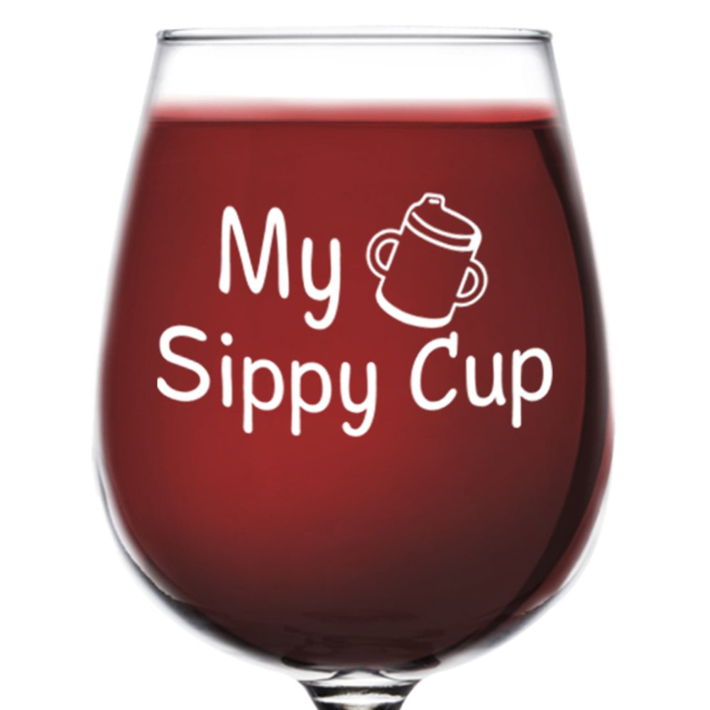 DuVino My Sippy Cup Funny Wine Glass 12.75 oz. - Gift for her - Cool Present for Mom, Daughter, Sister, Aunt, Friend, or Girlfriend