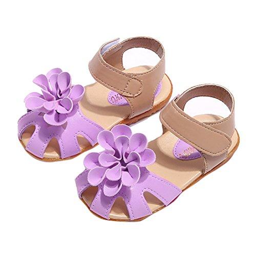 Vertvie Babyschuhe Mädchen Sandalen Sommer Geschlossene Flach Prinzessin Sandalen mit Blumen Violett