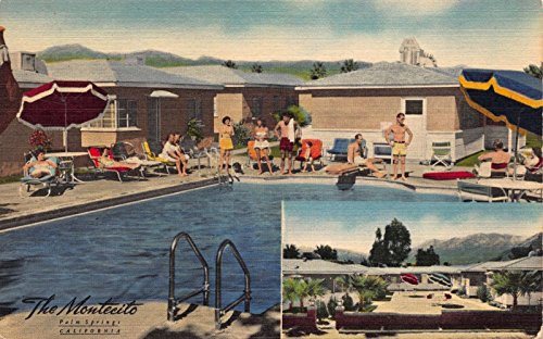 Montecito Poster (Linen Postcard Swimming Pool at The Montecito in Palm Springs, California~111130)