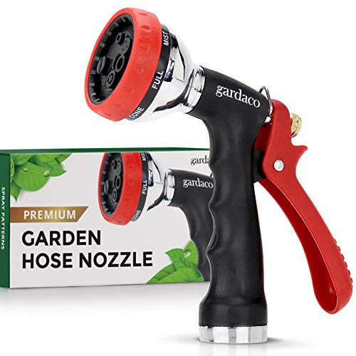 Dependable Garden Hose Nozzle with Easy Grip Handle and 7 Pattern Aluminum Water Spray – for Easy Extended Use