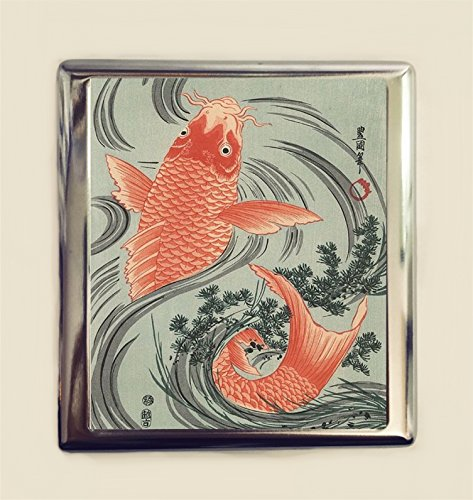 Japanese Koi Cigarette Case Business Card ID Holder Wallet Japan Woodblock Gold Fish Goldfish (Card Japanese Business)