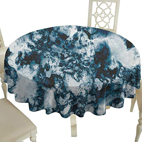Grid Round Table Cloth 54 Inch Marble,Unusual Gemstone Onyx Rock Nature Pattern with Vintage Paintbrush Effects Slate Blue Pearl Great for Traveling & More