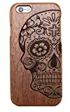 JBC LINK® Handmade Natural Wood Wooden Hard bamboo Case Cover for iPhone 6 - 4.7 Inch Protective Shell (Half skull)