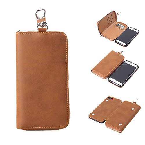 FuriGer iphone 7 Plus Case, iPhone 8 Plus Case with Card Holder Wallet Case and Zipper Key Case, PU Leather Protective Cover for iPhone 7/8 5.5 inch -Light Brown by FuriGer