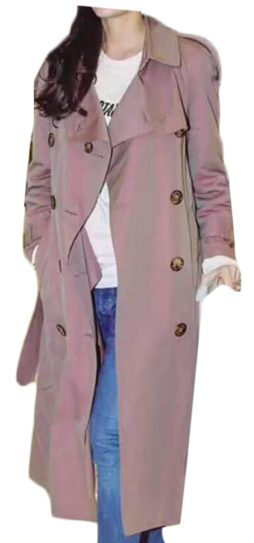 ouxiuli Women's Business Solid Color Long Sleeve Lapel Double-Breasted with Belt Wool Blend Pea Trench Coat 1 S