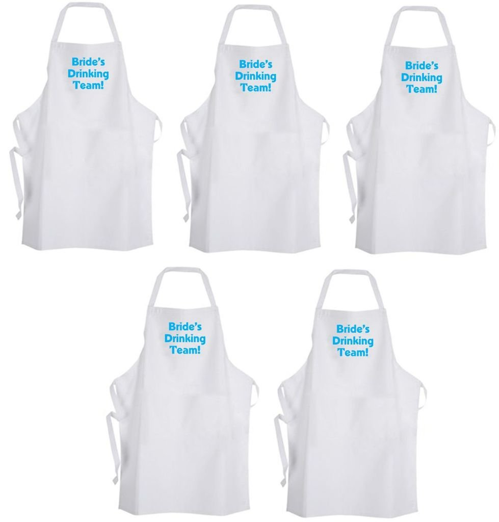 Set 5 Bride's Tribe (Turquoise Blue) Adult Size Aprons – Bachelorette Party by Aprons365