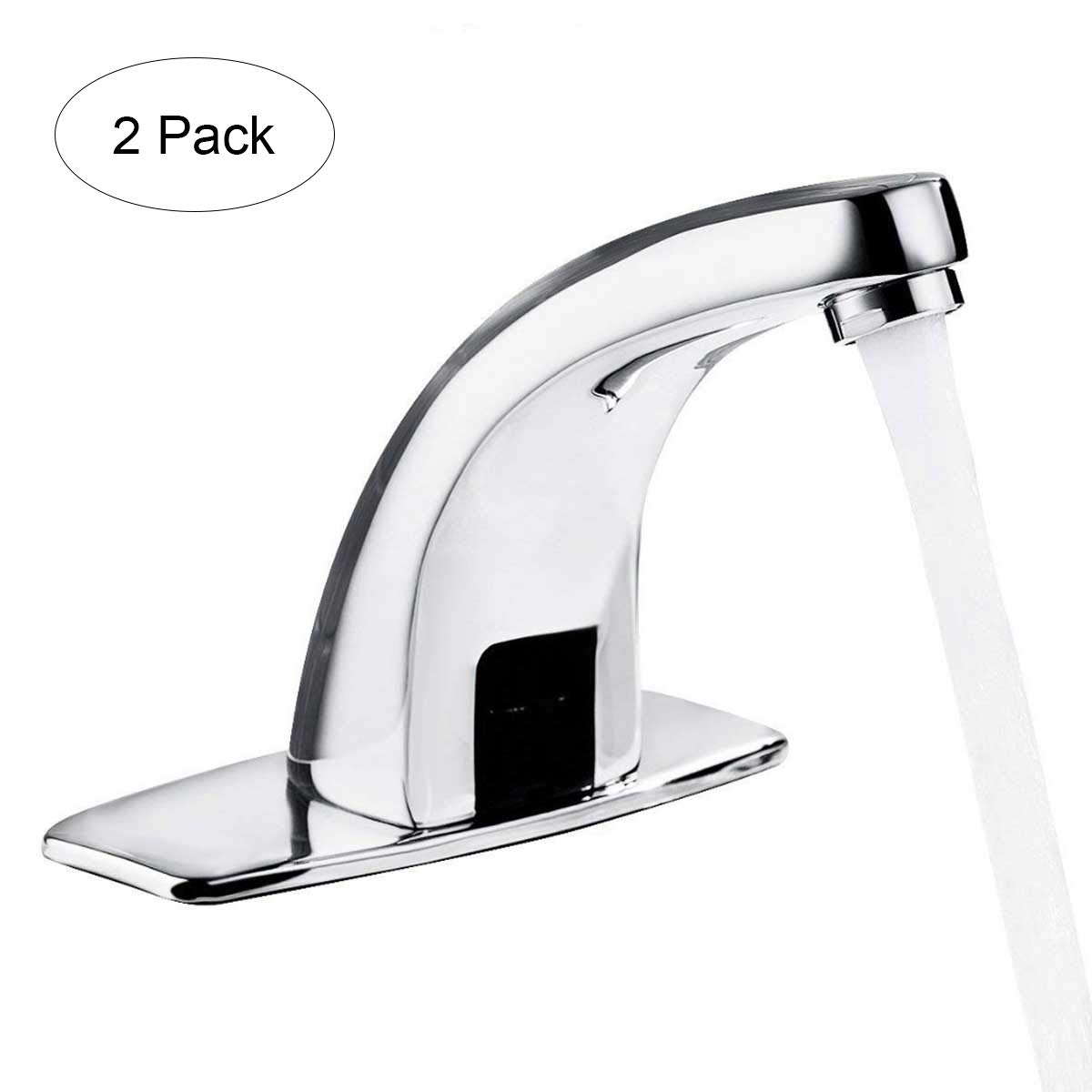 Yosoo Automatic Infrared Sensor Faucet, Zinc Alloy Smart Touchless Sink Faucet Kitchen Bathroom Water Tap (Pack Of 2) by Yosoo