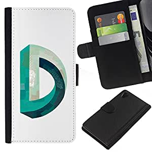 ZCell / Sony Xperia Z2 D6502 / D Mobius Impossible Teal White / Caso Shell Armor Funda Case Cover Wallet / D Mobius Imposible Teal Blanco