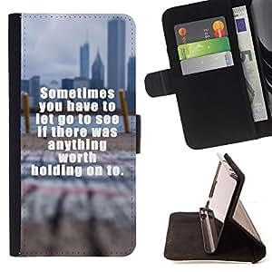 BullDog Case - FOR/HTC DESIRE 816 / - / worth holding text inspiring blurry city /- Monedero de cuero de la PU Llevar cubierta de la caja con el ID Credit Card Slots Flip funda de cuer