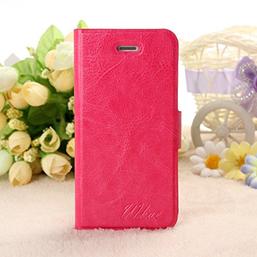 5 opinioni per Wkae® Apple iPhone 5/5S custodia;Pu Leather Wallet Flip Folio copertura del