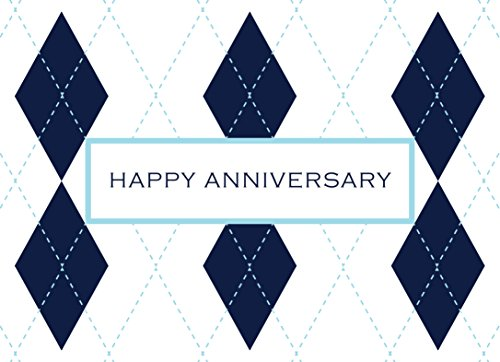 Anniversary Greeting Cards - A1603. Business Greeting Card Featuring an Image of Happy Anniversary on a Plaid Design Background. Box Set Has 25 Greeting Cards and 26 Bright White Envelopes.