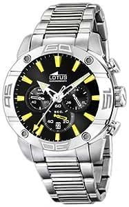 Lotus 15643/6 - Reloj cronógrafo de caballero de cuarzo con correa de acero inoxidable plateada (cronómetro) - sumergible a 100 metros