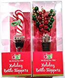 Holiday Wine Bottle Stoppers Set of 2. Candy Cane and Jingle Bells
