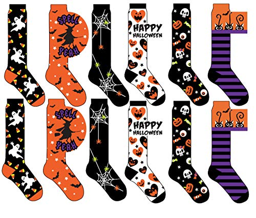 12 Pair,Happy Halloween Socks, 6 Different Designs, Halloween Gift,Women Size (Knee High Socks, 9-11) for $<!--$23.99-->