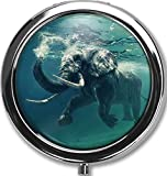 Best Silver Pills - Swimming Elephant Custom Round Silver Pill Box Pocket Review