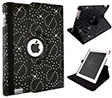 Xtra-Funky Range iPad AIR 2 (iPad 6) Crystal Diamante PU Leather 360 Degree Rotating Smart Case with Auto Wake / Sleep Function Includes a Screen Protector and Soft Tipped Stylus - BLACK