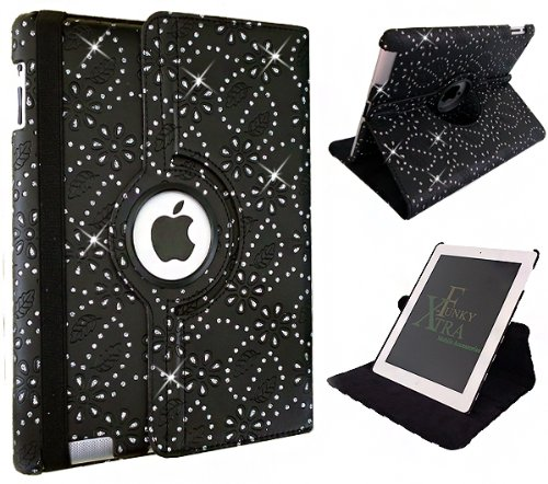 Xtra-Funky Range iPad MINI 1 / 2 / 3 Crystal Diamante PU Leather 360 Degree Rotating Smart Case with Auto Wake / Sleep Function + Screen Protector and Soft Tipped Stylus - BLACK
