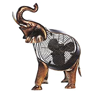 DecoBREEZE Decorative Table Fan, Desk Fan, Two Speed Electric Tabletop Fan, Figurine Fan, 7 inch, African Elephant