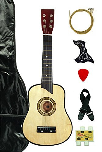 Natural Acoustic Toy Guitar for Kids with Carrying Bag and Accessories & DirectlyCheap(TM) Translucent Blue Medium Guitar Pick by DirectlyCheap
