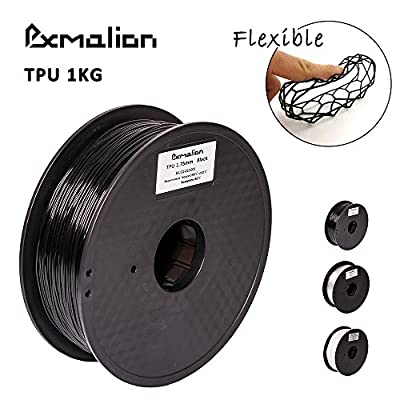 Pxmalion Flexible TPU 3D Printers Filament, 1.75mm, Black, Accuracy +/- 0.05mm, Net Weight 1KG(2.2LB), Compatible with Most 3D Printers