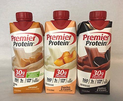 - Premier Protein High Protein Shakes - 4 Caramel, 4 Peaches & Cream, 4 Cookies & Cream (11 fl. oz., 12 pack)