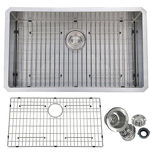 (PRIMART PHU3219S 32-Inch Handmade Single Bowl 16 Gauge Stainless Steel Undermount Kitchen Sink With Bottom Grid)