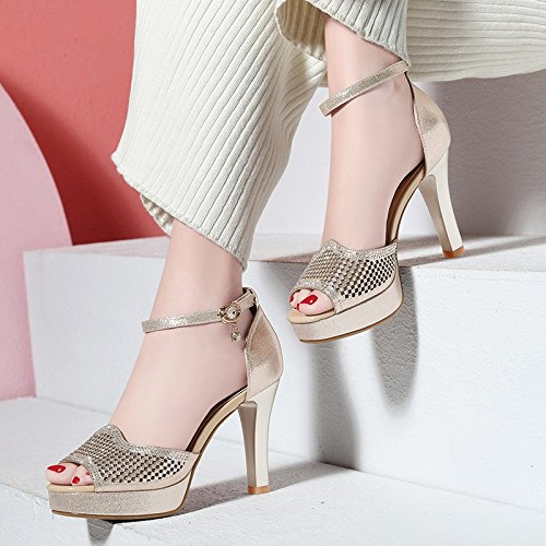 heels Spring Single Shoes Hollow Shoes And Jqdyl High High Buckle With Heeled Golden Female Mouth Summer Shoes Shoes New Fish Hollow gXXqwC5
