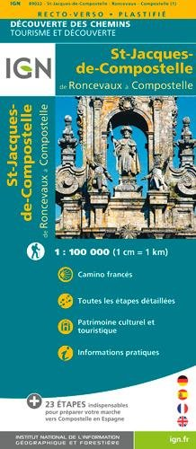 IGN St Jacques - Roncevaux - Compostelle - Carte topographique