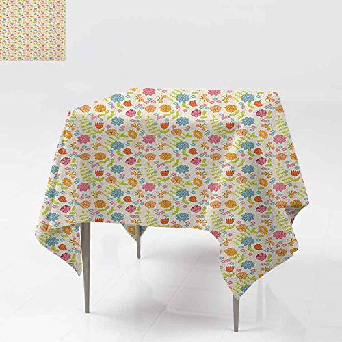 (DUCKIL Oil-Proof and Leak-Proof Tablecloth Cheerful and Tender Spring Season Theme Flowers Butterflies and Green Leaves Picnic W63 xL63 Multicolor)