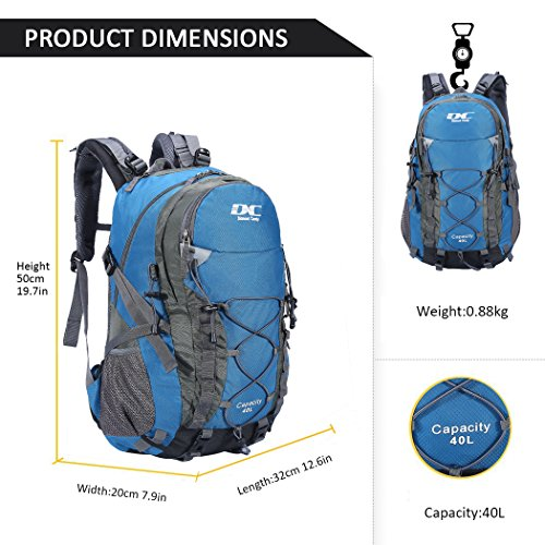 Diamond Candy Hiking Backpack 40L Waterproof Outdoor Lightweight Travel Backpacks for Men and Women with Rain Cover, Bag for Mountaineering Camping Climbing Cycling Fishing (Blue) by Diamond Candy (Image #6)