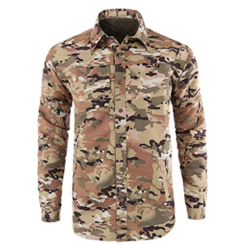Fashion Men's Quick-Drying Casual Military Pure Color Long Sleeve T-Shirt Tops Camouflage