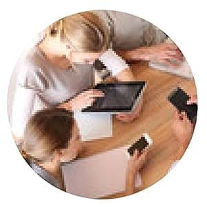 alfombrilla de ratón Grupo de hombres de negocios el uso de dispositivos electrónicos en el trabajo - ronda - 20cm